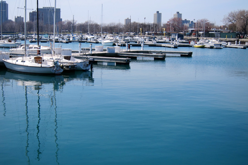 The blue water of Montrose Harbor in spring.
