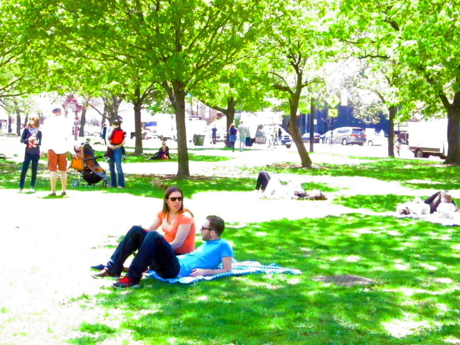 Chicagoans lounging on the grass near the Green City Market in May.