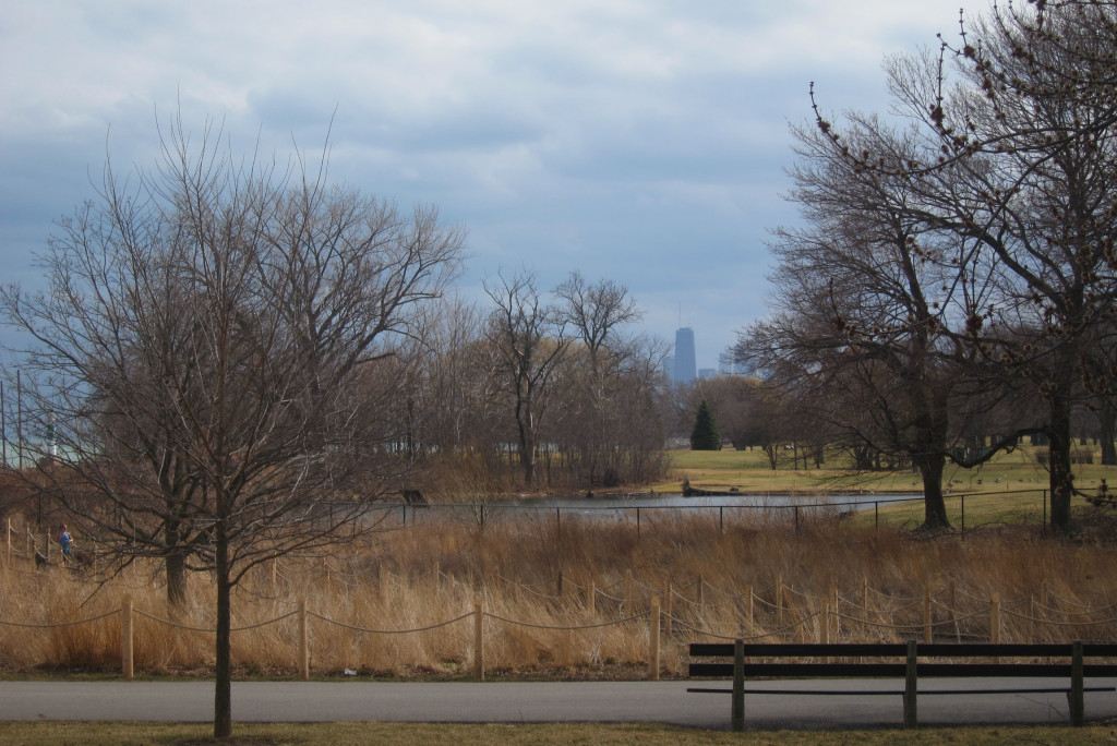 Prairie grasses, a water hazard, a bit of the Lake, and the Hancock visible in the distance.
