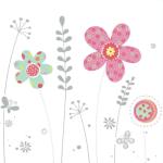 Dugnad bursdagskort - blomster - dugnadskort - rosa blomst med sølvtrykk.