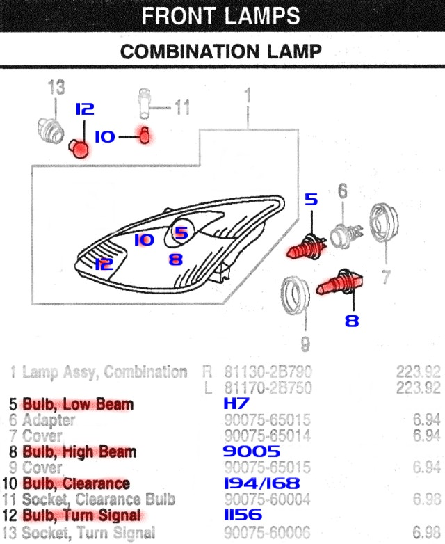 00 2000 Honda Civic Headlight Bulb - Hardware - API, CIPA