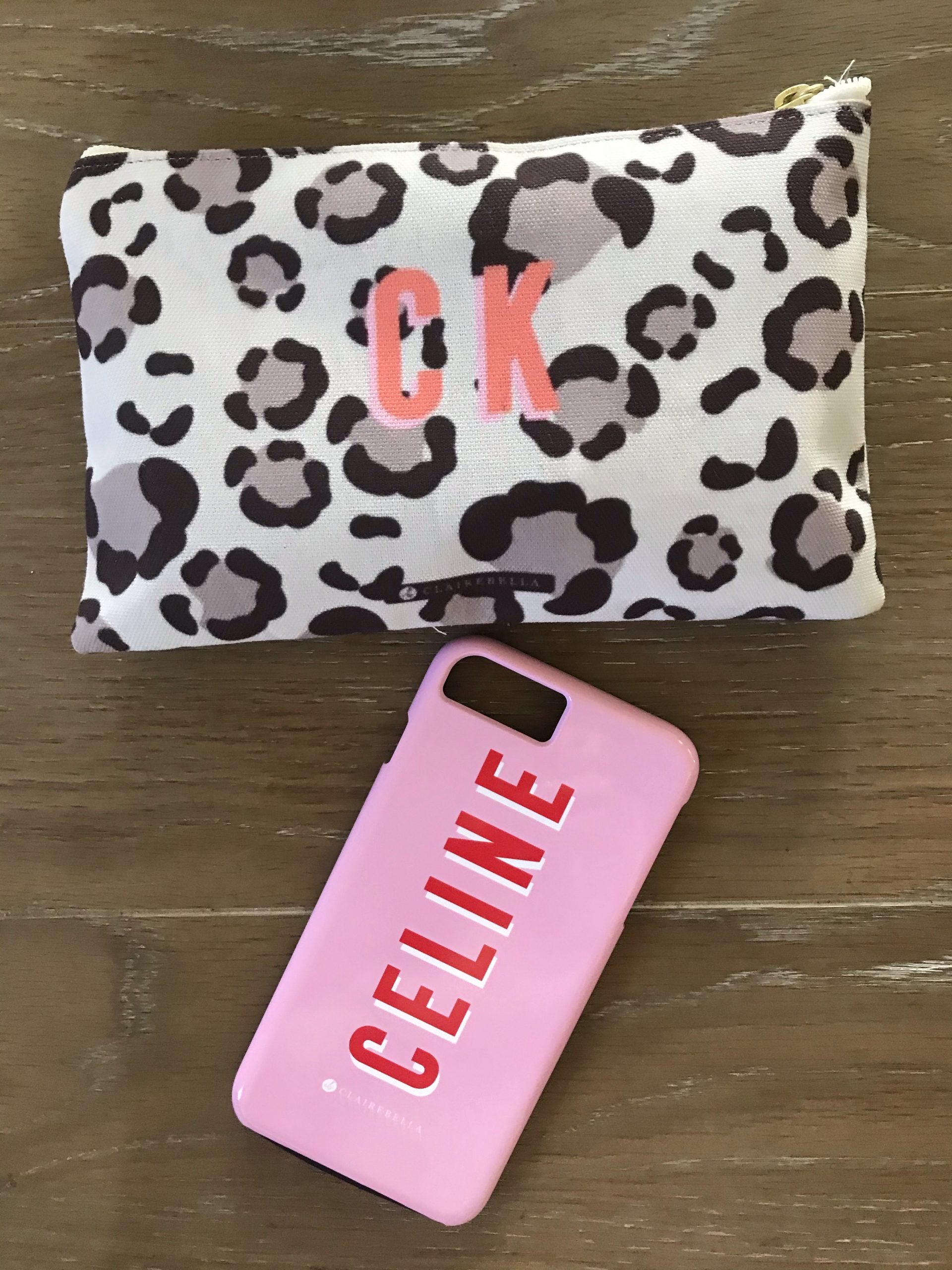 Customized makeup bag and phone case to gift