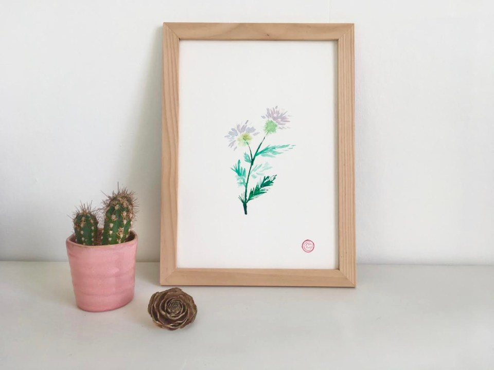 Aquarelle fleurs plante chardon sauvage
