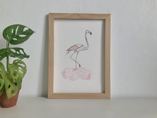 Affiche illustration aquarelle et encre de chine flamand rose