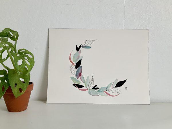 Affiche aquarelle couronne de feuille