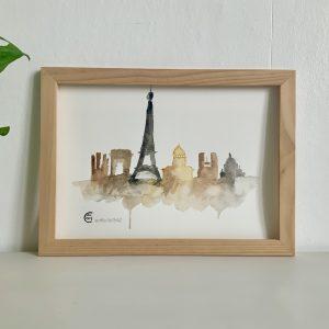 Affiche illustration aquarelle paris
