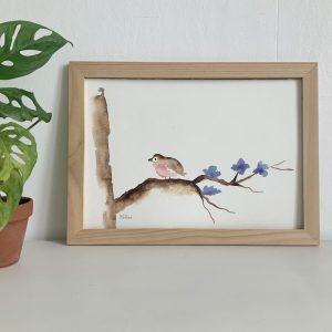 Affiche aquarelle rouge gorge sur sa branche de fleurs bleues