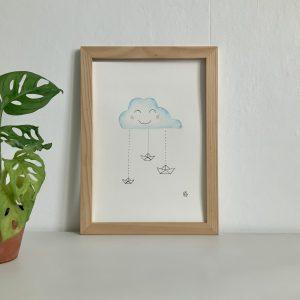 Affiche aquarelle nuage et petits bateaux aquarelle