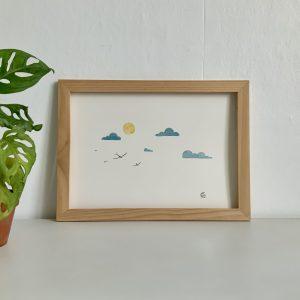 Affiche aquarelle nuage soleil et hirondelles