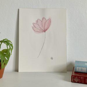 Affiche aquarelle et encre de chine fleur de lotus rose