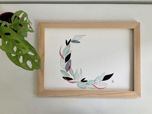 Affiche aquarelle couronne de feuilles