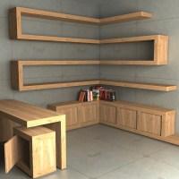 (1383) Zestaw półek narożnych i biurko z szafką