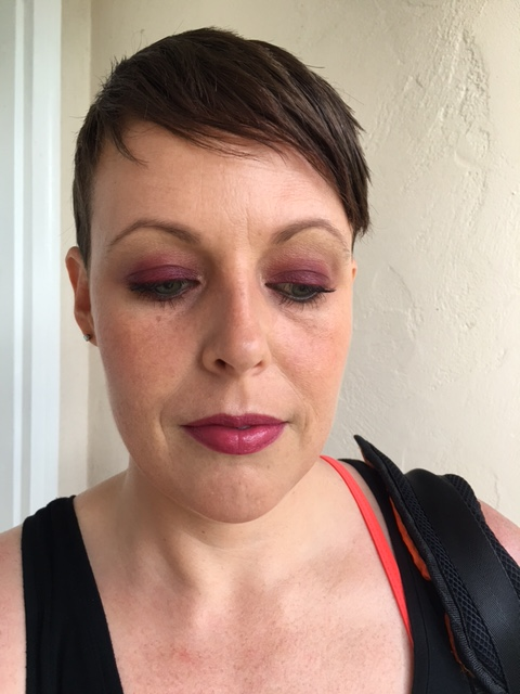 """Revlon Nearly Naked powder, Nars Laguna bronzer, MAC """"This Could Be Fun"""" blush, Notoriously Morbid """"Osteomancy"""" highlight and YSL Volupte Shine """"Prune In Fire"""""""