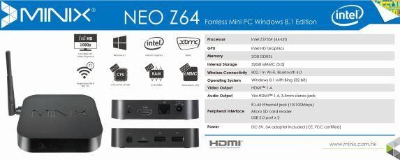 NEO Z64 Windows 8.1 Edition - Spec Sheet