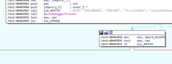 Figure 14. AutoIT loader checks for a debugger