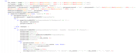 Figure 7. The file is saved, random names get generated, and .cro is decoded using certutil.exe