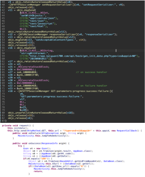 Figure 8. Loaded URL Code on iOS (top) and Android (below)