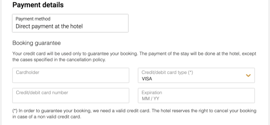 Figure 5. The original credit card form (above) from the hotel website and the injected form (below) from the skimmer