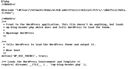 Figure 4. A sample of a patched WordPress index.php including the hidden .ico
