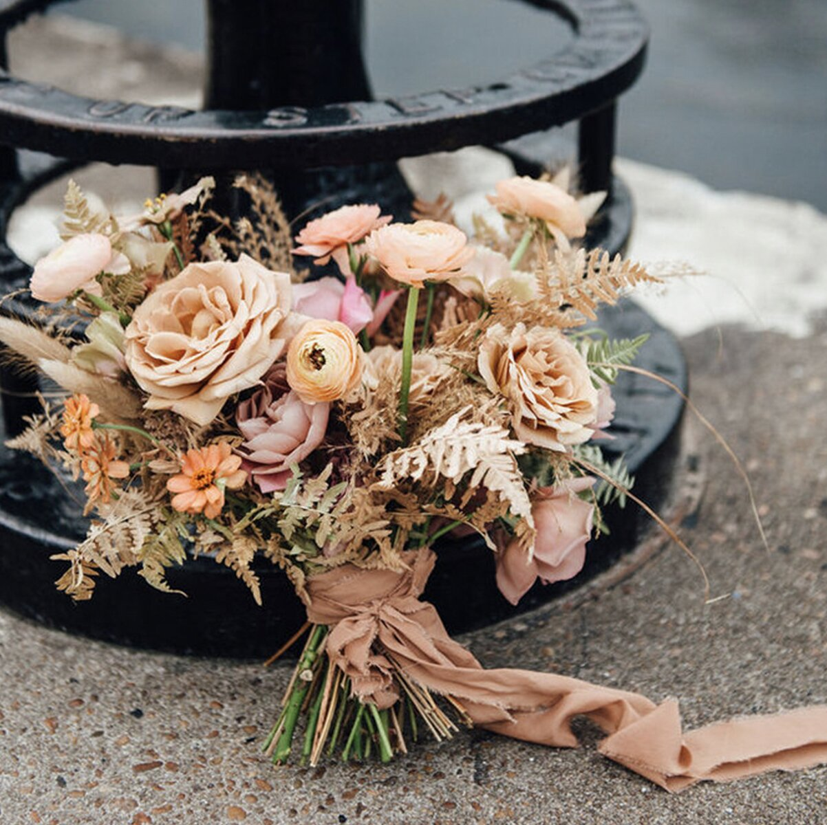 wedding-flowers-florist-sydney-bridal-party-packages-prices-dried-boho-roses-bouquet