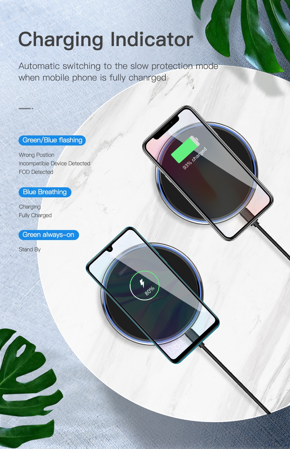 KUULAA 10W Qi Wireless Charger For iPhone X/XS Max XR 8 Plus Mirror Wireless Charging Pad For Samsung S9 S10+ Note 9 8