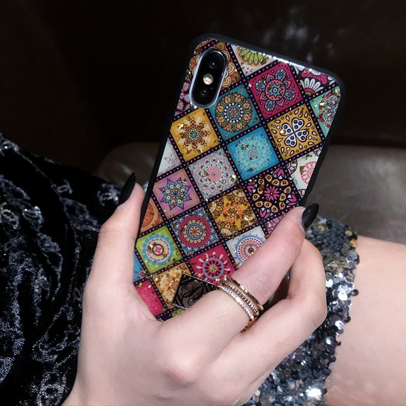 Luxury Bling Glitter Phone Cases For iPhone X 8 7 6 6S Plus Gold Foil Soft Silicone Cover For iPhone XS MAX XR Retro Flower Case