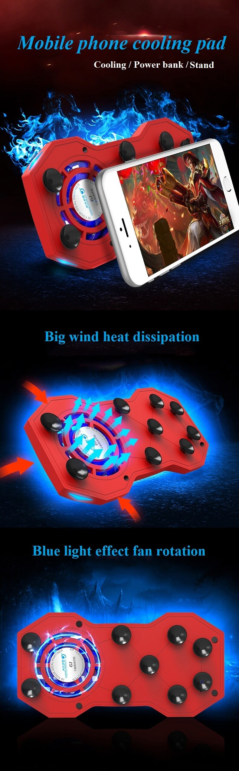 2019 New Mobile Phone Radiator Adjustable Cooling Pad Heat Sink Fan Handle Game Holder Stand Mute With Mini Power Bank