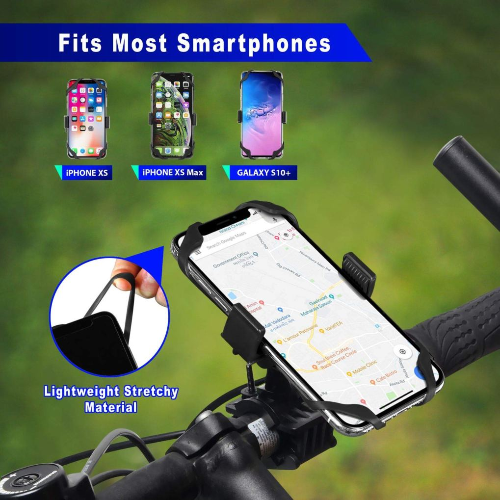 Univerola Bike & Motorcycle Phone Mount for iPhone Xs Samsung Galaxy Universal Handlebar Holder for ATV GPS Bicycle Support