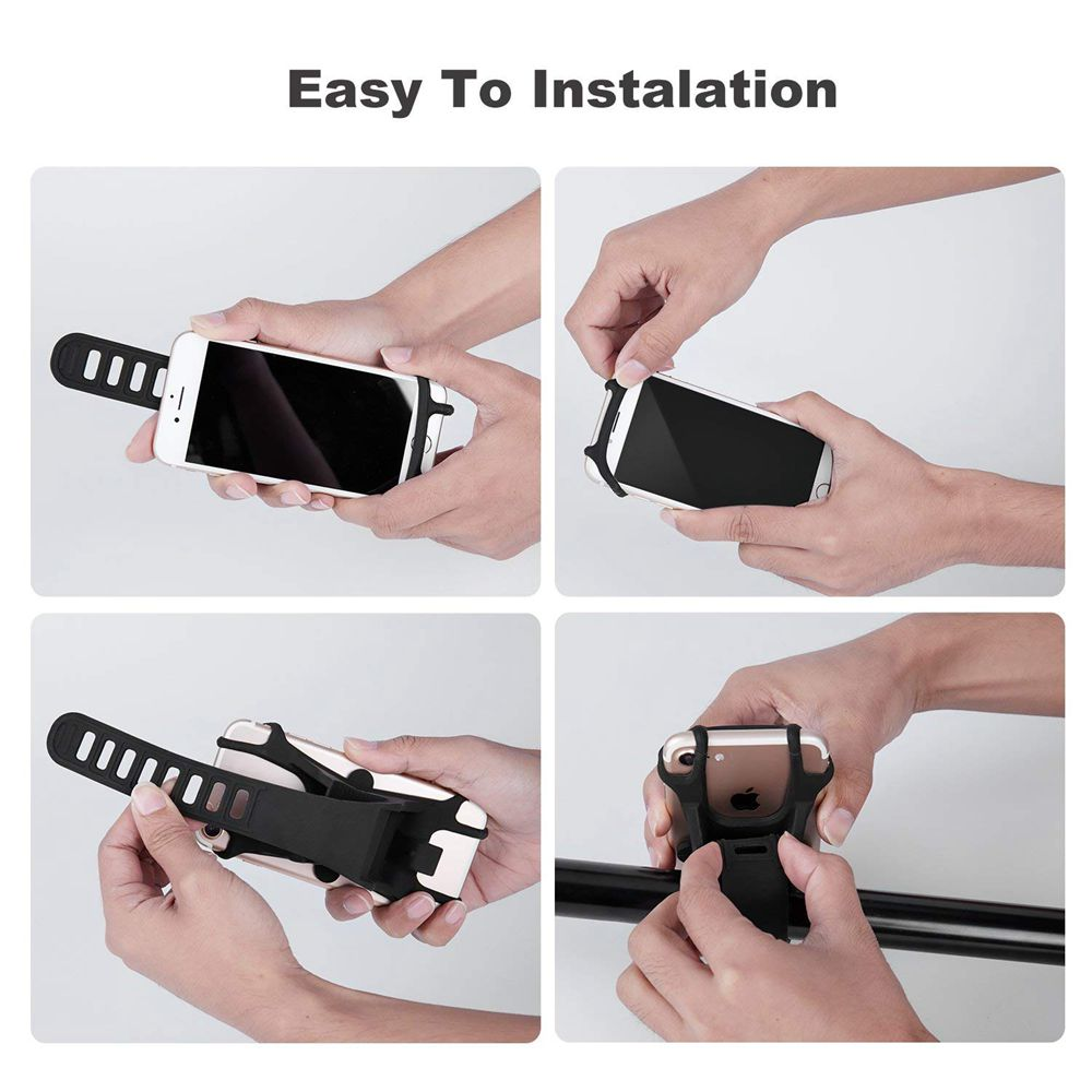 Bike Mount Holder Silicone Strap Universal Adjustable Bicycle Motorcycle Handlebar Phone Mount Rack For 4-6 Inch Cellphones GPS