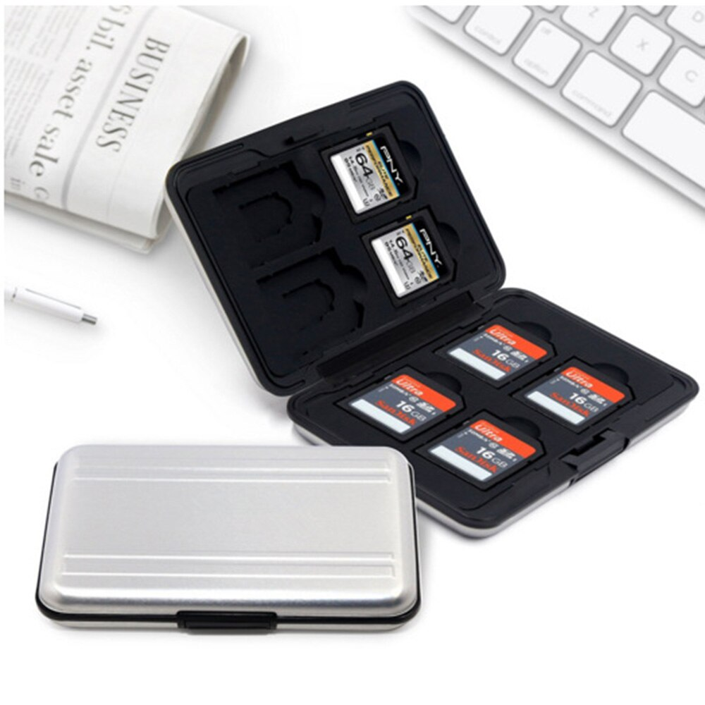 Portable memory card case anti-lost 16 slots (8 + 8) for Micro SD SD / SDHC / SDXC card memory silver aluminum new card package