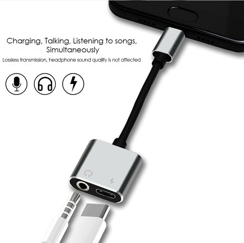 UTHAI T11 Type-C to 3.5mm Audio Adapter Earphone Jack 2in1 Converter For Charging USB C Cable