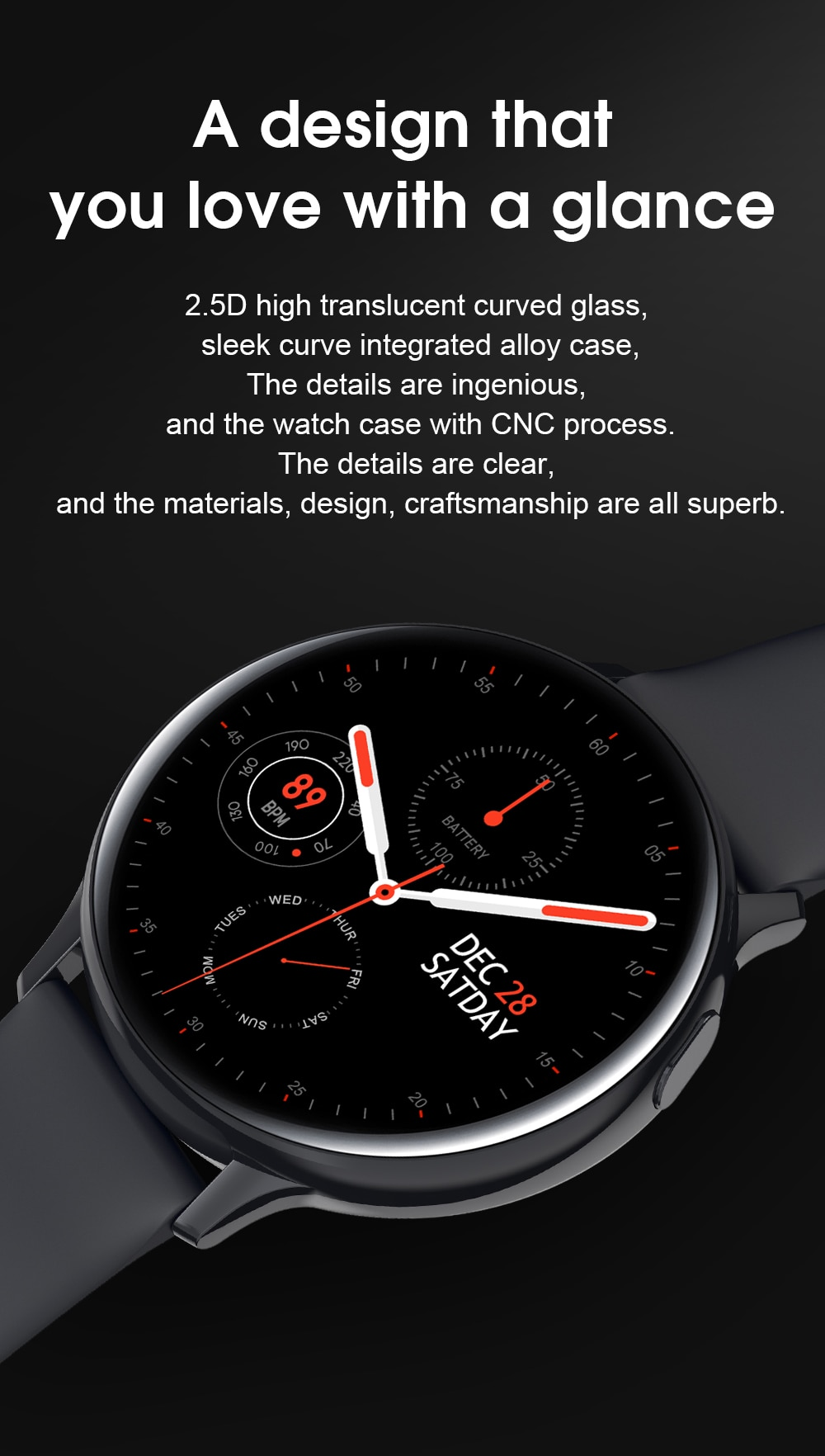 LEMFO S30 Full Circle Full Touch Smart Watch Men ECG Body Temperature Monitoring SMS Reminder Long Standby for Samsung