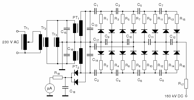 160 kv fullwave multiplier circuit