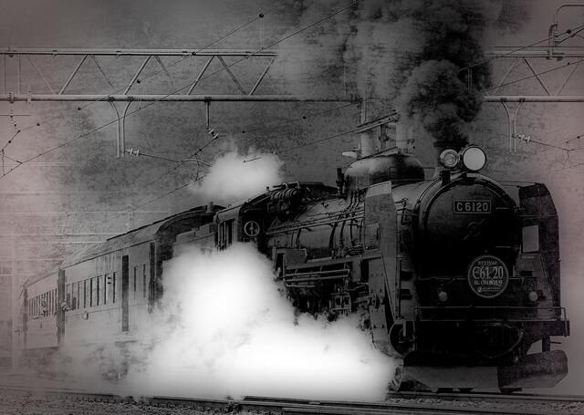 Es una locomotora antigua de vapor que va por los rieles