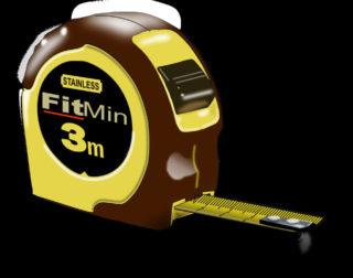 Una cinta metrica color amarillo con cafe