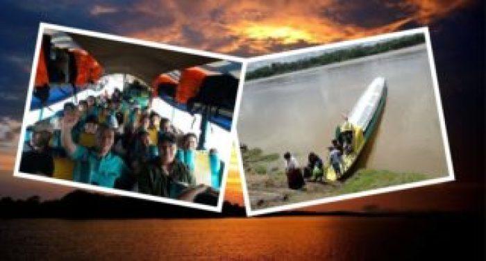 Es un collage de transportacion en el rio amazonas del Peru