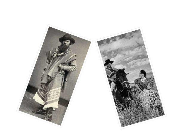 Es un collage de fotos antiguas de gauchos del sudamerica