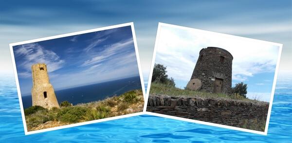 Es un collage de dos torres en la costa de la Peninsula iberica