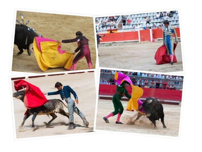 Es un collage de cuatro fotos toreando al toro
