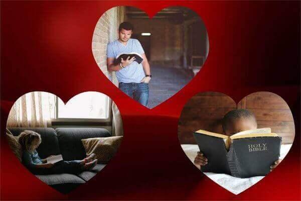 Es un collage de tres fotos una es el padre el hijo y la hija y los tres estan leyendo la Biblia individualmente