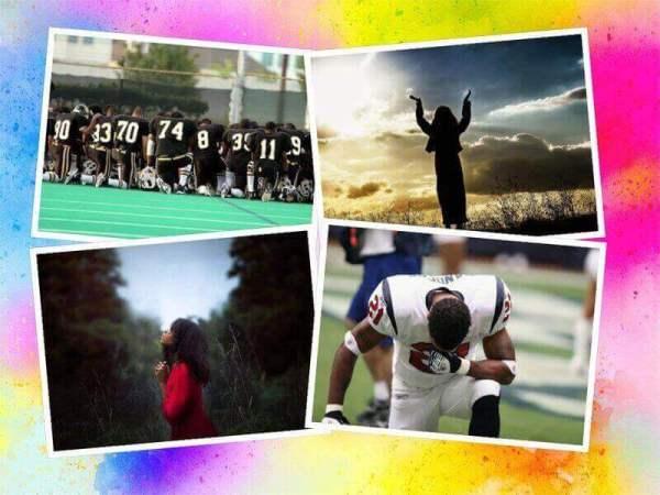 Es un collage de cuatro fotos con gente orando y en una de ellas es un equipo de futbol americano orando juntos