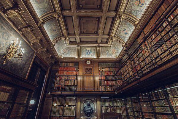 Es una biblioteca llena de libros y al fondo esta una pequena estatua