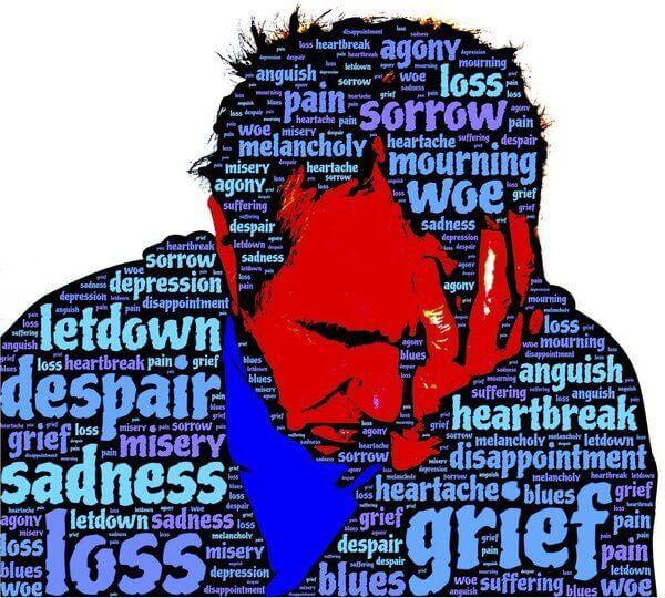 Es una silueta que describe varias palabras de una persona angustiada y con dolor