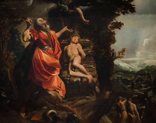 Es una foto donde Abraham esta por sacrificar a su hijo Isaac y le aparece la voz de Dios