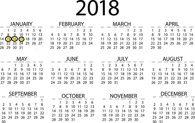 es un calendario del ano 2018