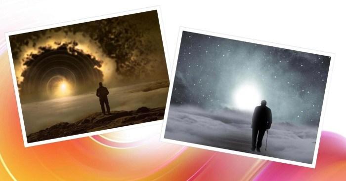 es un collage de dos fotos y en cada una esta un hombre frente a una luz