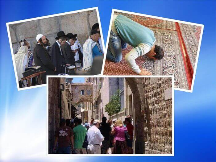 es un collage de las tres religiones monoteistas
