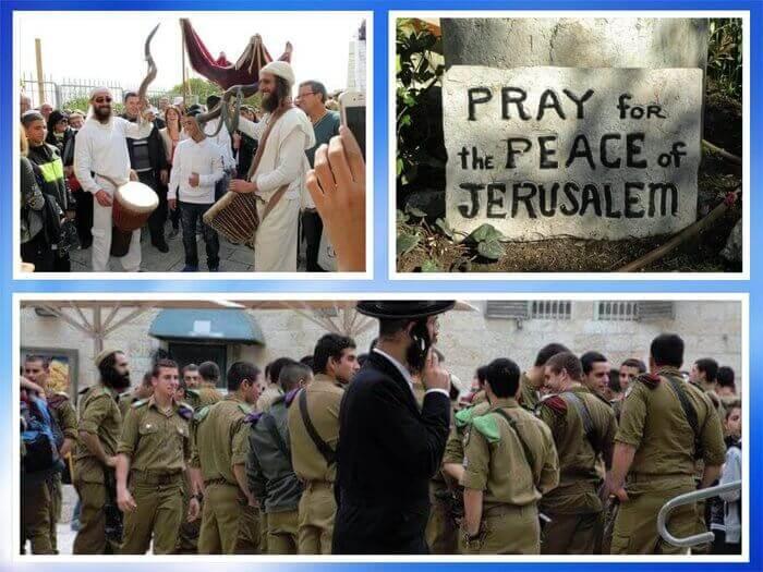 Es un collage que tiene tres fotos uno de judios contentos otra con judios soldados y la ultima es un cartel que dice orar por la paz de Jerusalen