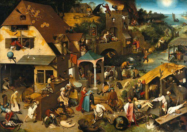 Es una pintura antigua de aceite donde todos los vecinos estan afuera platicando o haciendo diferentes cosas