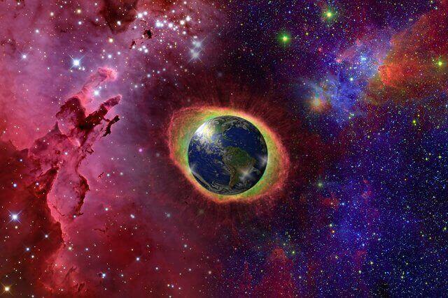 Es el Universo y en el centro se mira el planeta tierra